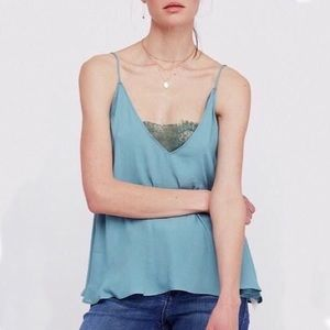 Free People • Lace Inset Camisole Teal